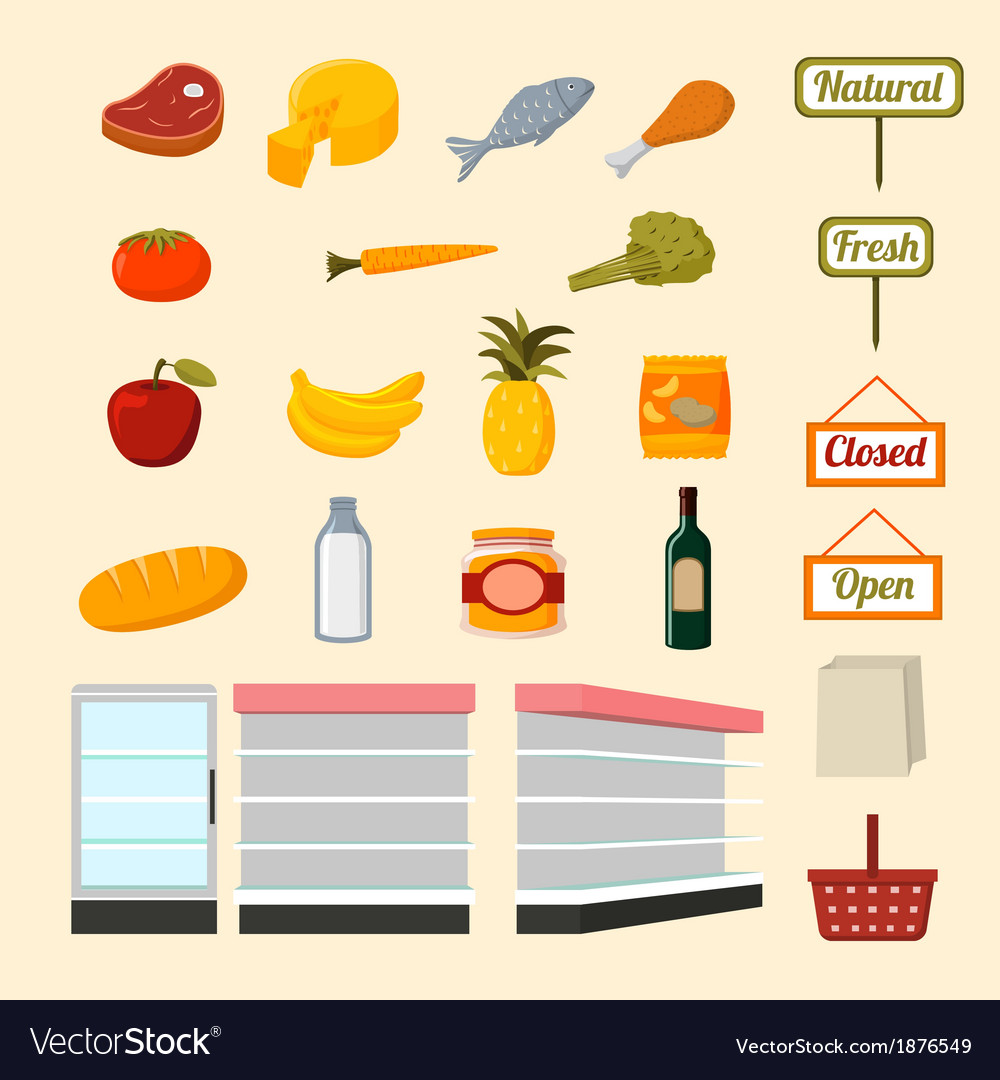 Collection of supermarket food items vector | Price: 1 Credit (USD $1)