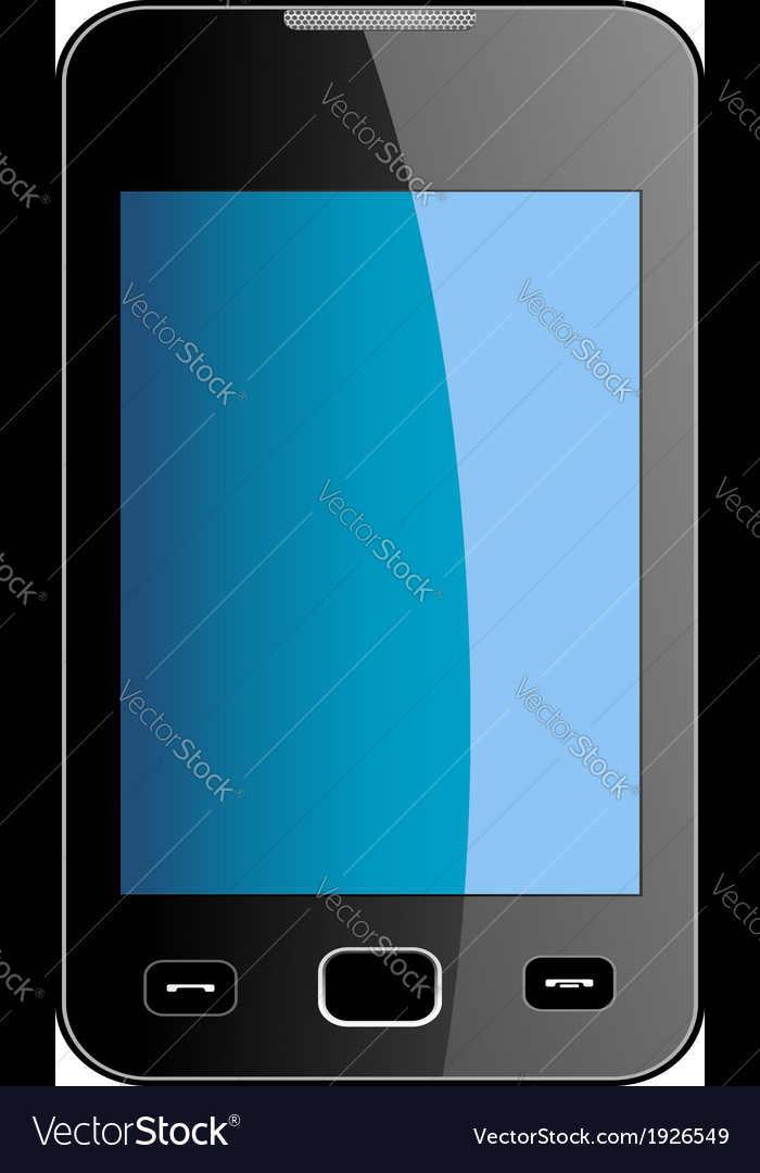 Glossy smart phone with blue touch screen vector | Price: 1 Credit (USD $1)