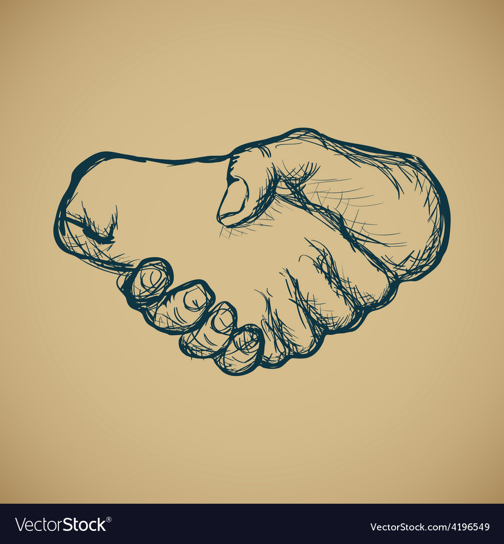 Hand draw sketch of vintage style hand shake vector | Price: 1 Credit (USD $1)