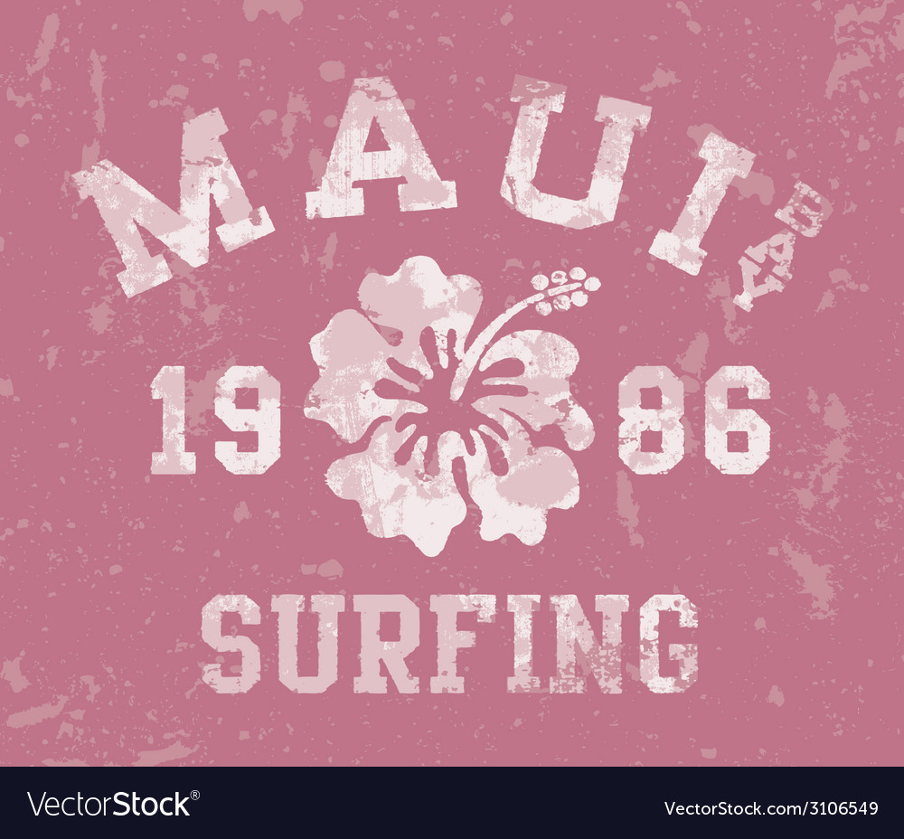 Maui bay surfing vector | Price: 1 Credit (USD $1)