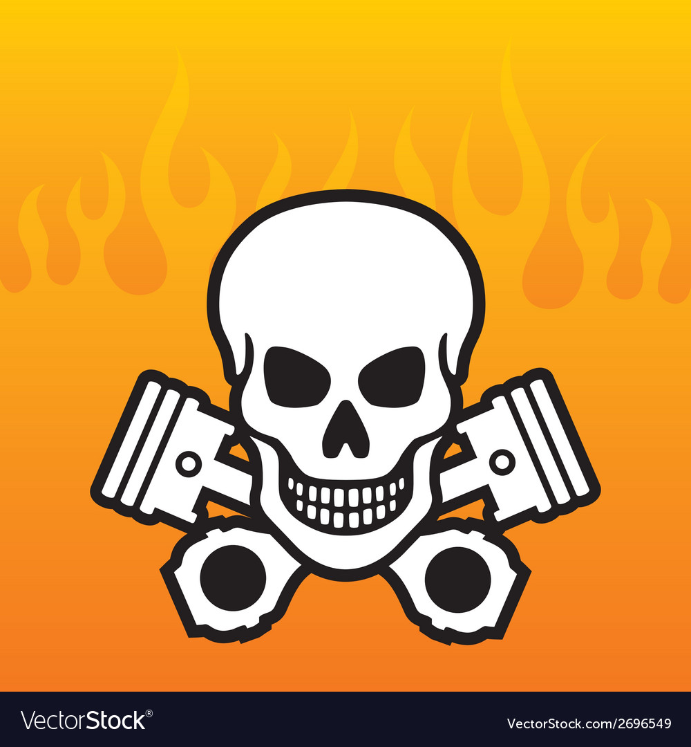 Skull and pistons with flame background vector | Price: 1 Credit (USD $1)