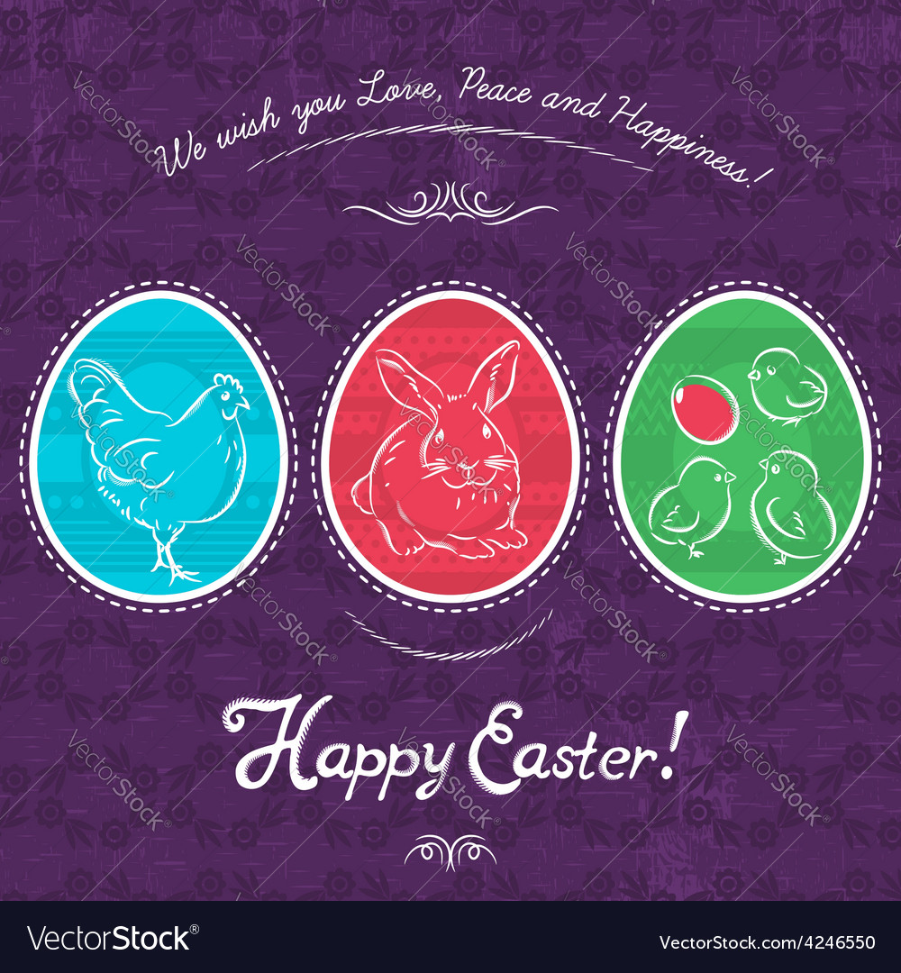 Easter eggs painted with rabbit hen and chicken vector | Price: 1 Credit (USD $1)