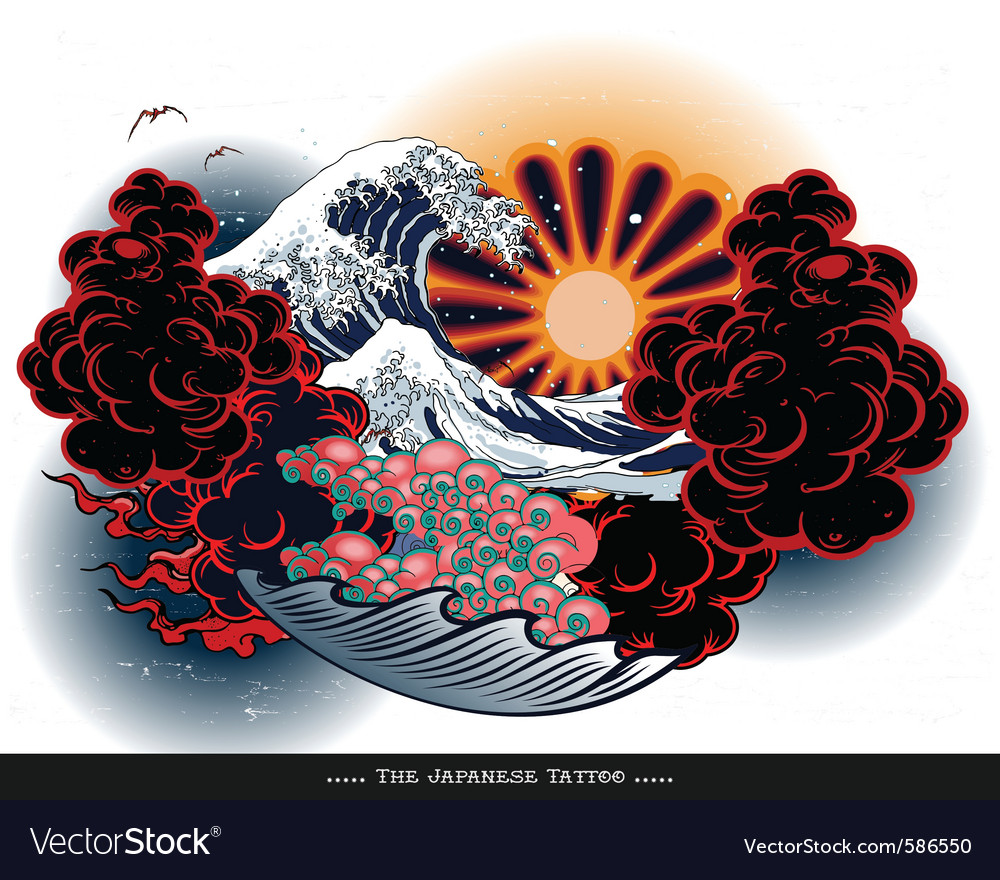 Japanese tattoo landscape vector | Price: 3 Credit (USD $3)