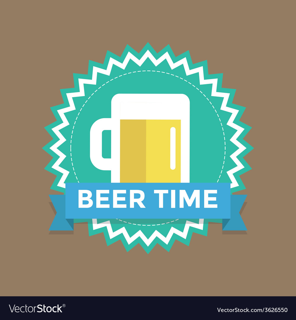 Label with text beer time vector | Price: 1 Credit (USD $1)