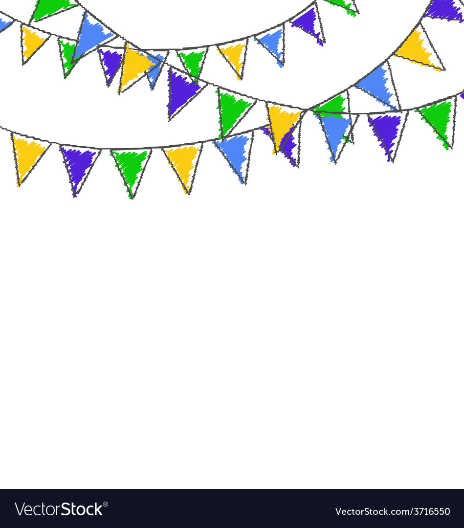 Multicolored hand-drawn buntings garlands in vector | Price: 1 Credit (USD $1)