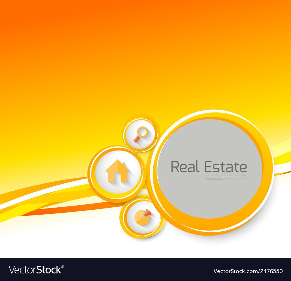 Real estate orange brochure with circles vector | Price: 1 Credit (USD $1)