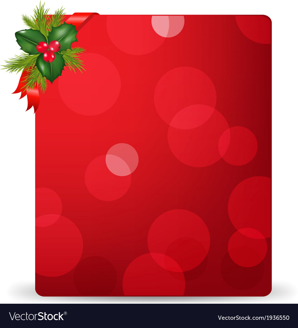 Red blank gift tag and holly berry and ribbon vector   Price: 1 Credit (USD $1)