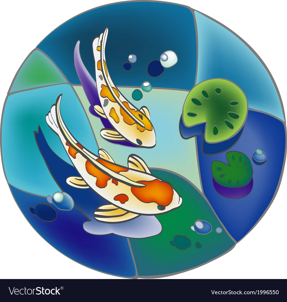 Round pond with carp vector | Price: 1 Credit (USD $1)