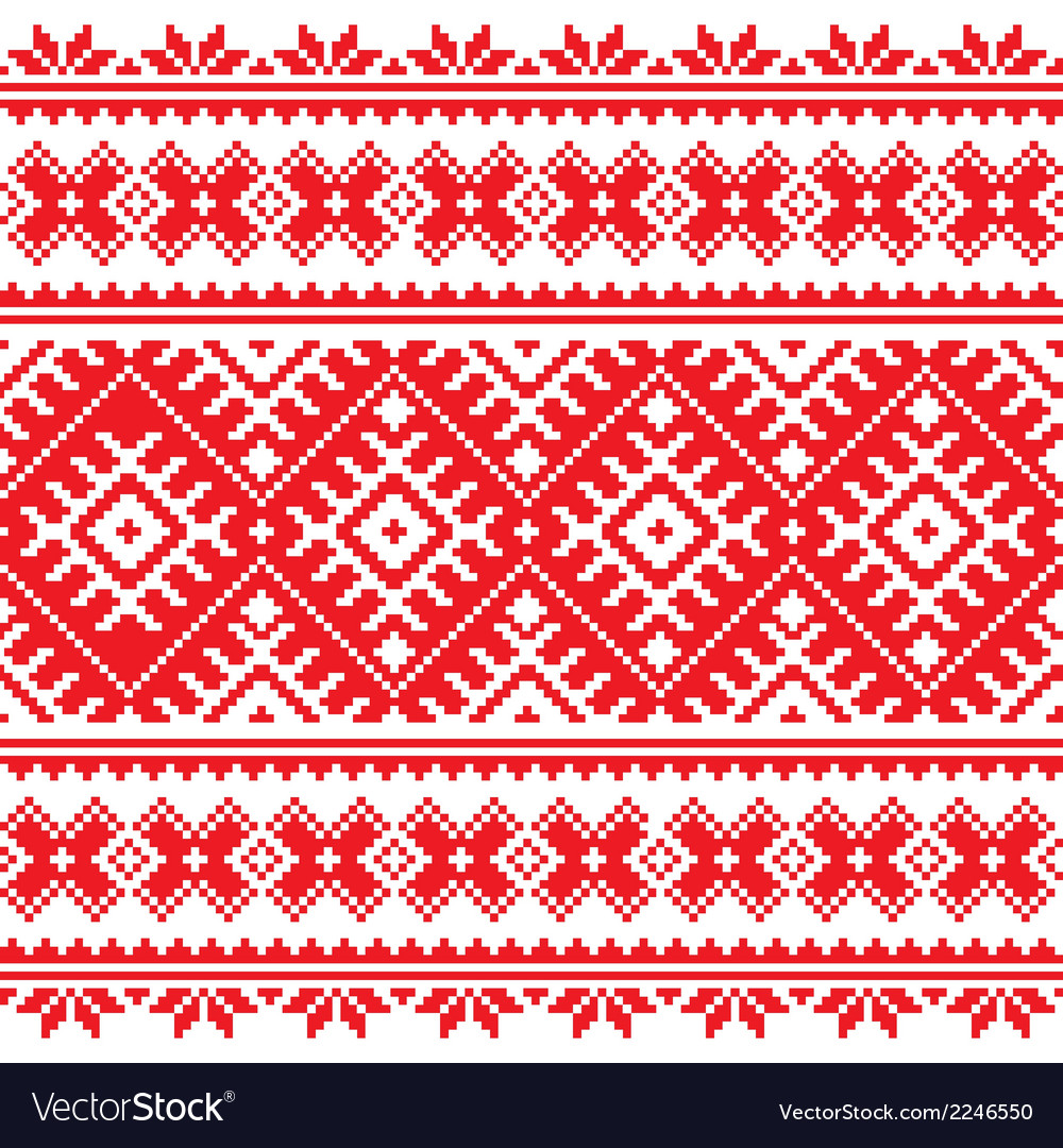 Seamless ukrainian folk red embroidery pattern vector   Price: 1 Credit (USD $1)