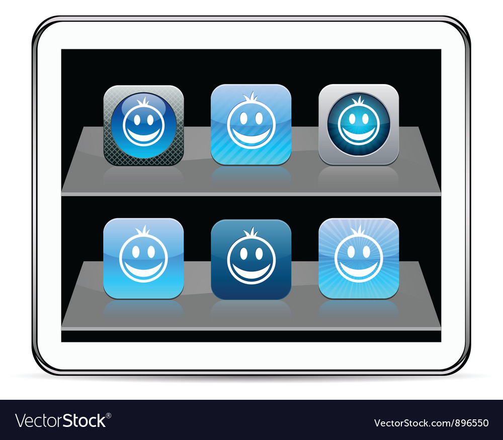 Smiley blue app icons vector | Price: 1 Credit (USD $1)