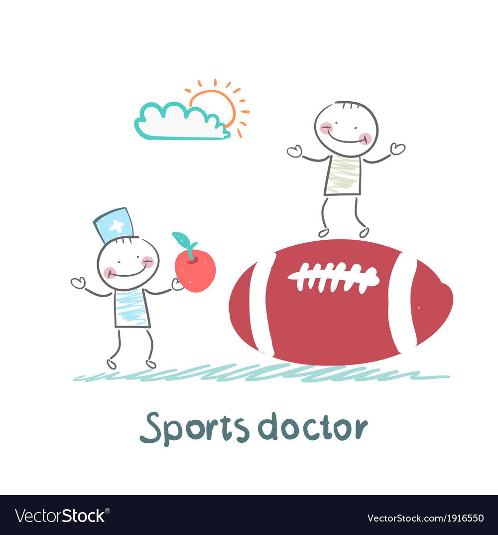 Sports doctor giving an apple to the person who vector | Price: 1 Credit (USD $1)