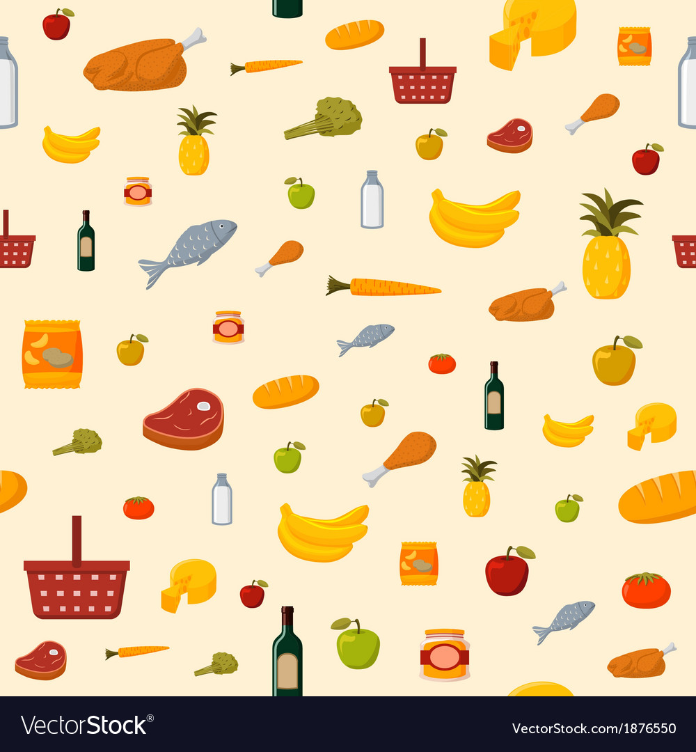 Supermarket food items seamless background vector | Price: 1 Credit (USD $1)