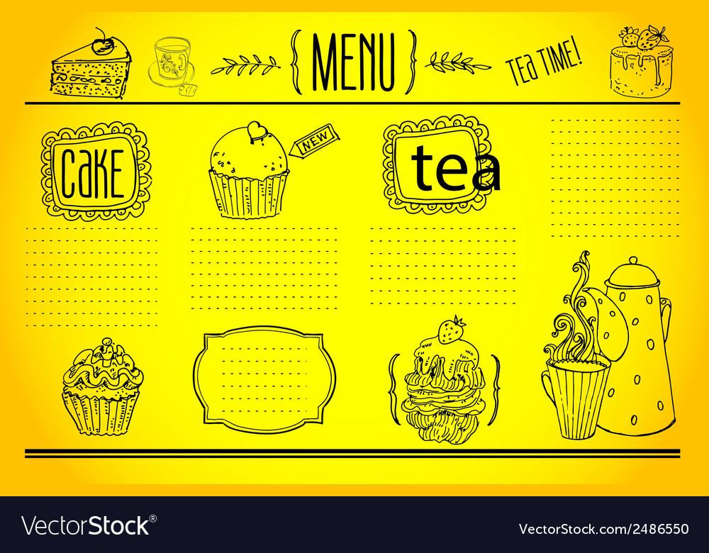 Tea and sweets - doodles collection vector | Price: 1 Credit (USD $1)