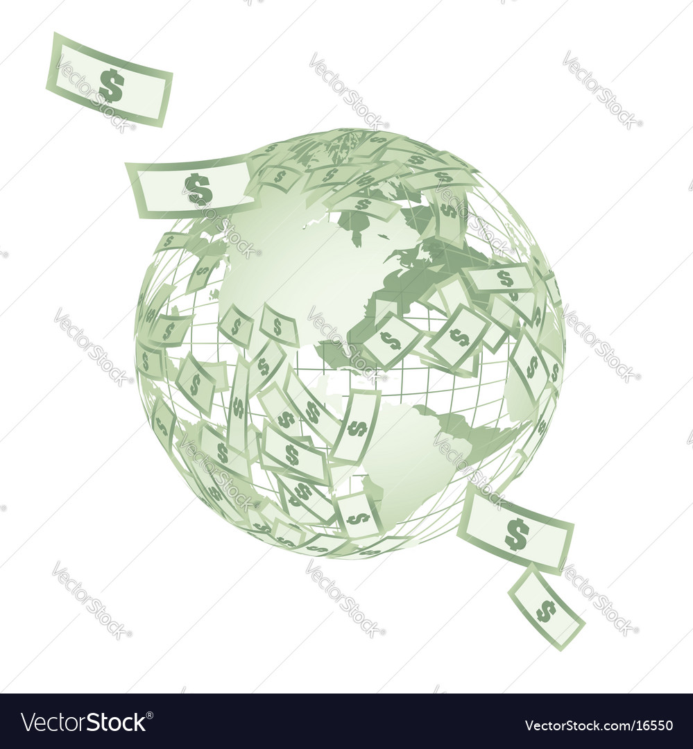 World map globe with dollars vector | Price: 1 Credit (USD $1)