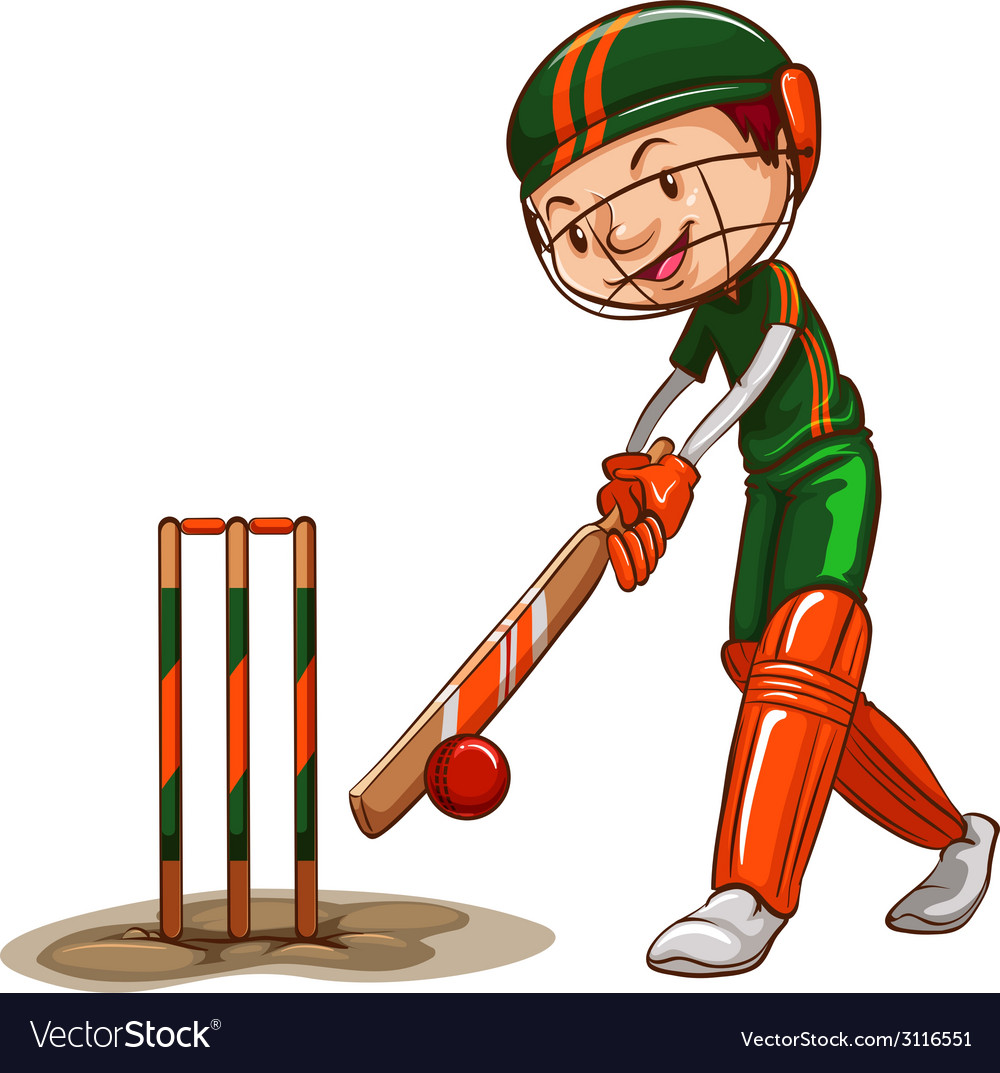 A male cricket player vector | Price: 1 Credit (USD $1)