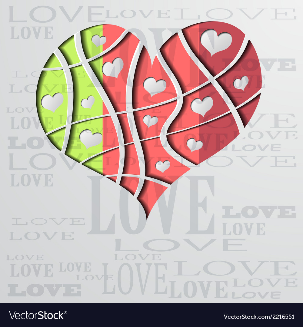 Abstract background with color strip heart vector | Price: 1 Credit (USD $1)