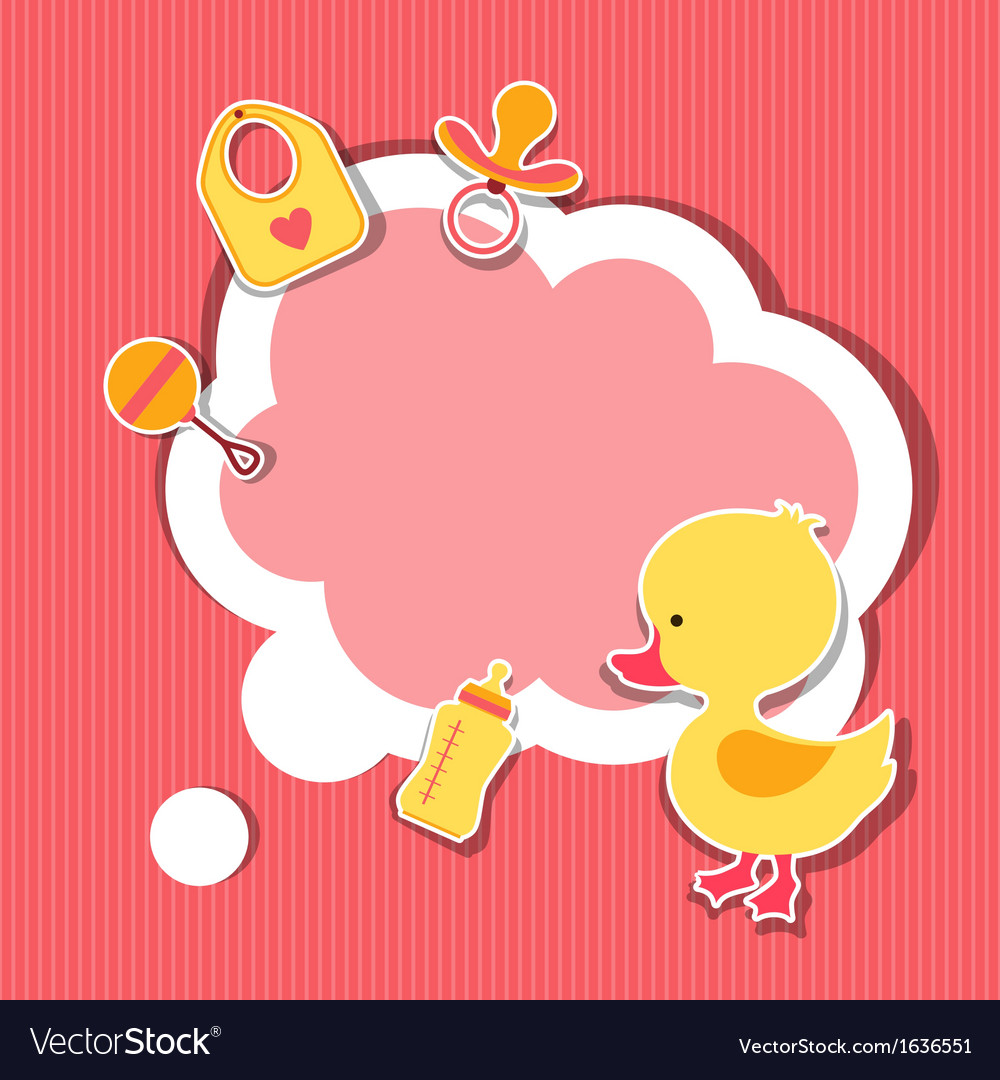 Background photo frame with little cute baby duck vector | Price: 1 Credit (USD $1)