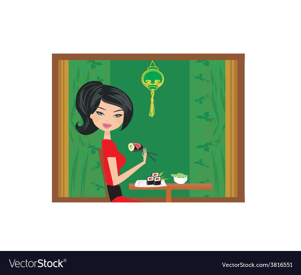 Beautiful girl enjoy sushi vector | Price: 1 Credit (USD $1)