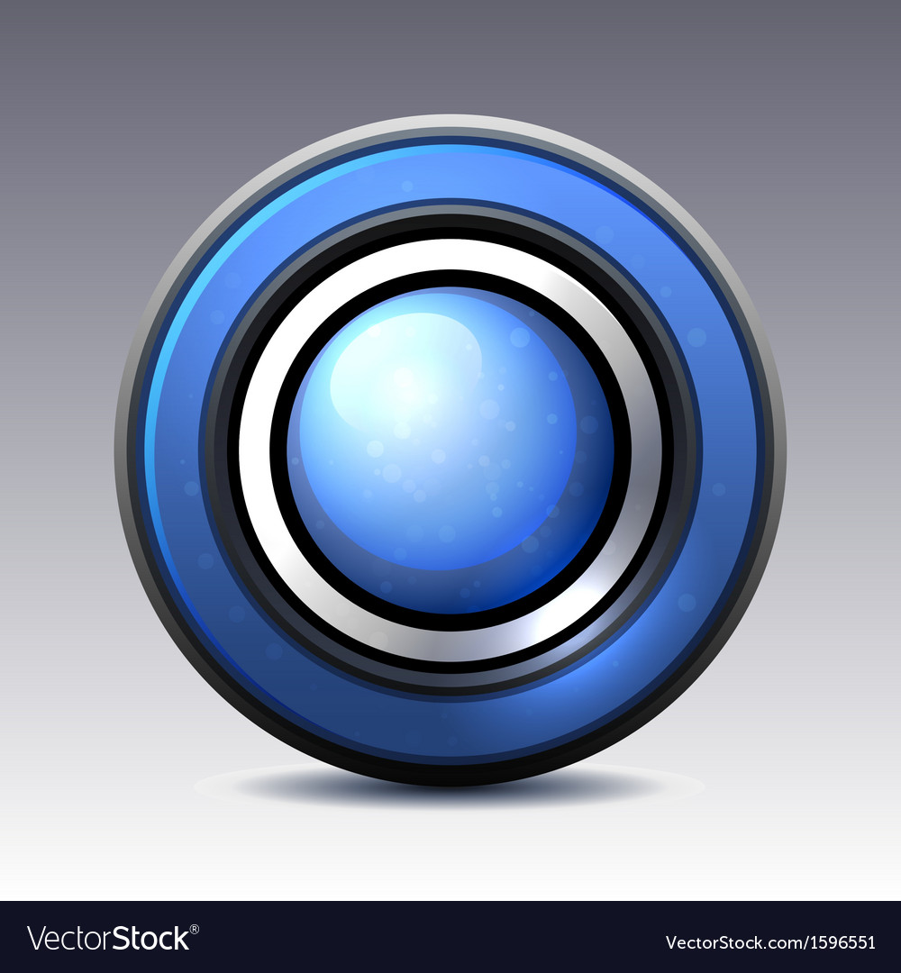 Blue shiny button with metallic elements vector | Price: 1 Credit (USD $1)