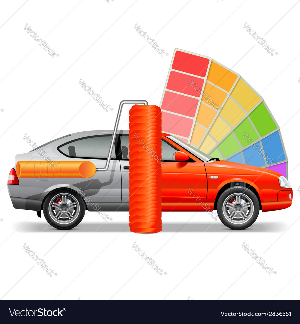 Car with paint brush vector | Price: 1 Credit (USD $1)