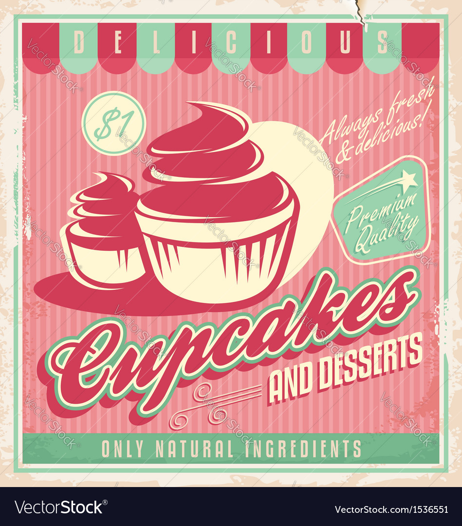 Cupcakes vintage poster design vector | Price: 1 Credit (USD $1)