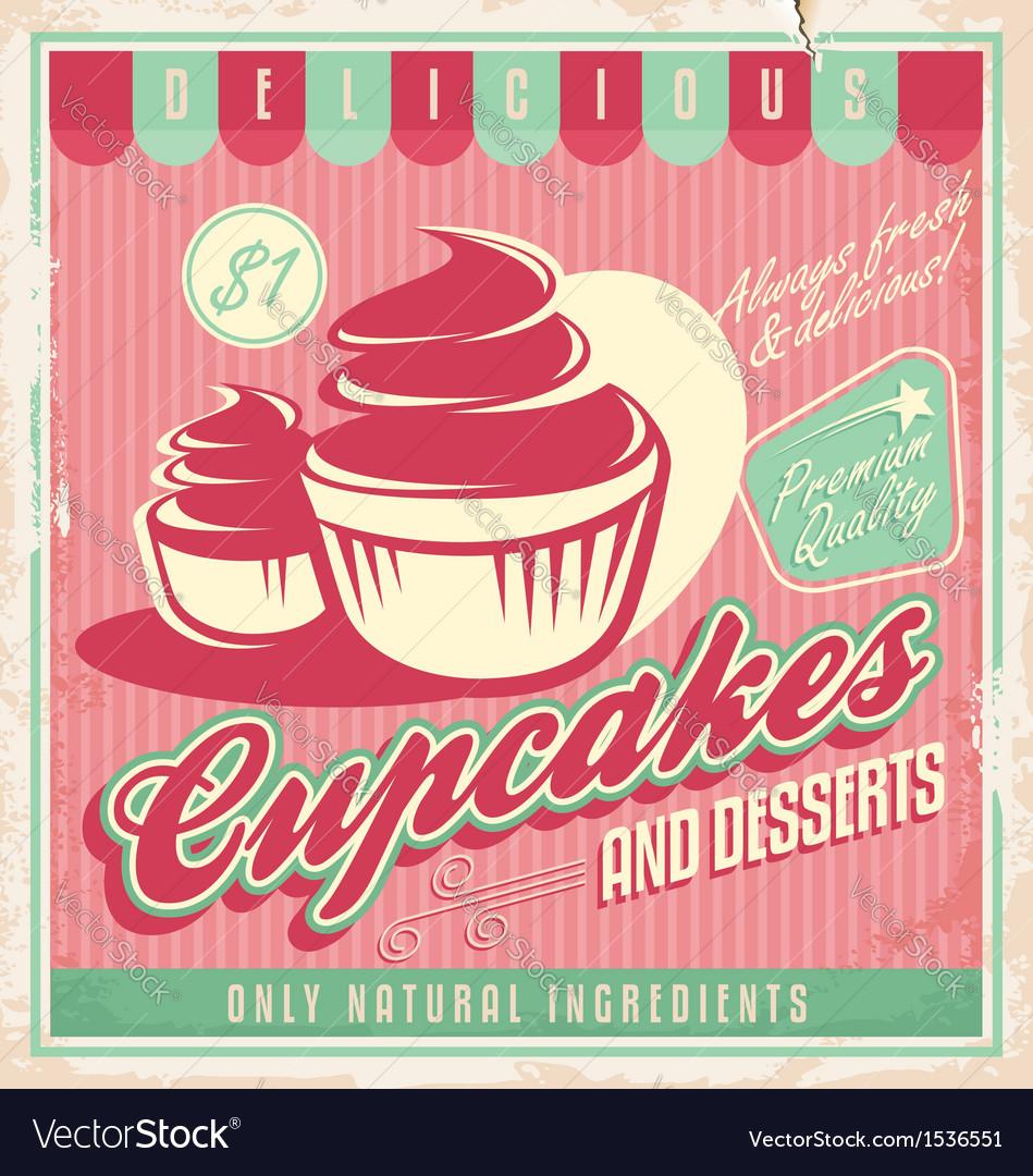 Cupcakes vintage poster design vector | Price: 1 Credit (USD $1)