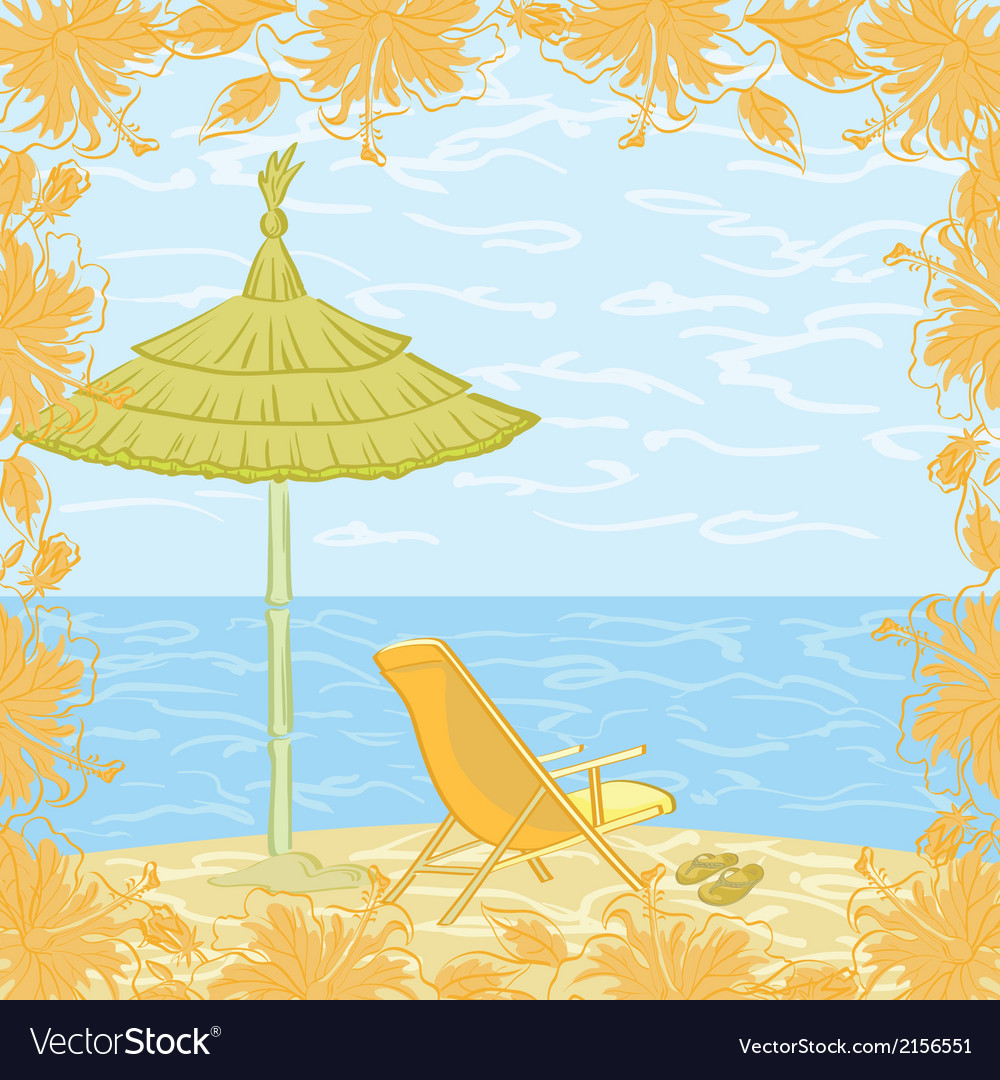 Exotic landscape beach vector | Price: 1 Credit (USD $1)
