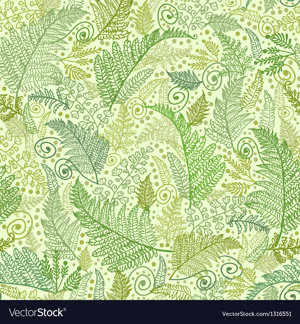 Green fern leaves seamless pattern background vector | Price: 1 Credit (USD $1)