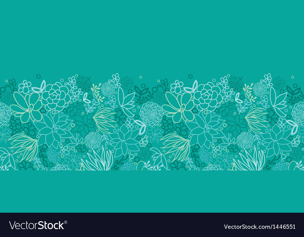 Green succulents horizontal seamless pattern vector | Price: 1 Credit (USD $1)