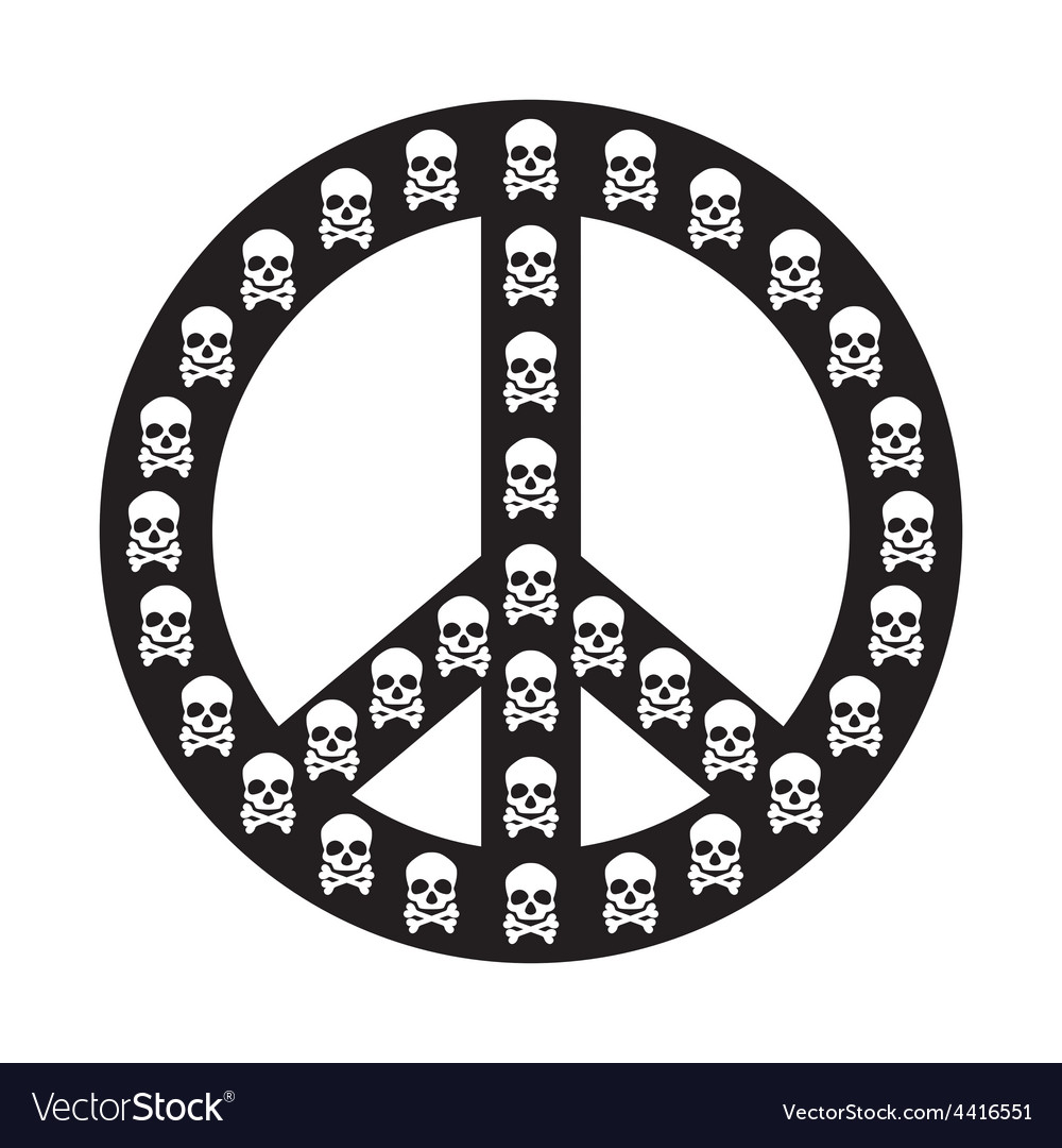 Peace sign isolated with white skull anti war vector | Price: 1 Credit (USD $1)