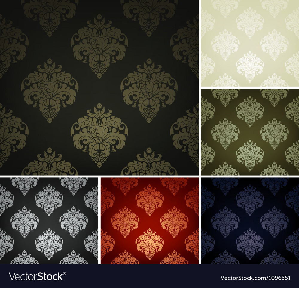 Seamless wallpaper pattern set of six colors vector   Price: 1 Credit (USD $1)