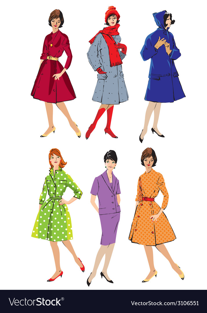 Set of elegant women - retro style fashion models vector | Price: 1 Credit (USD $1)
