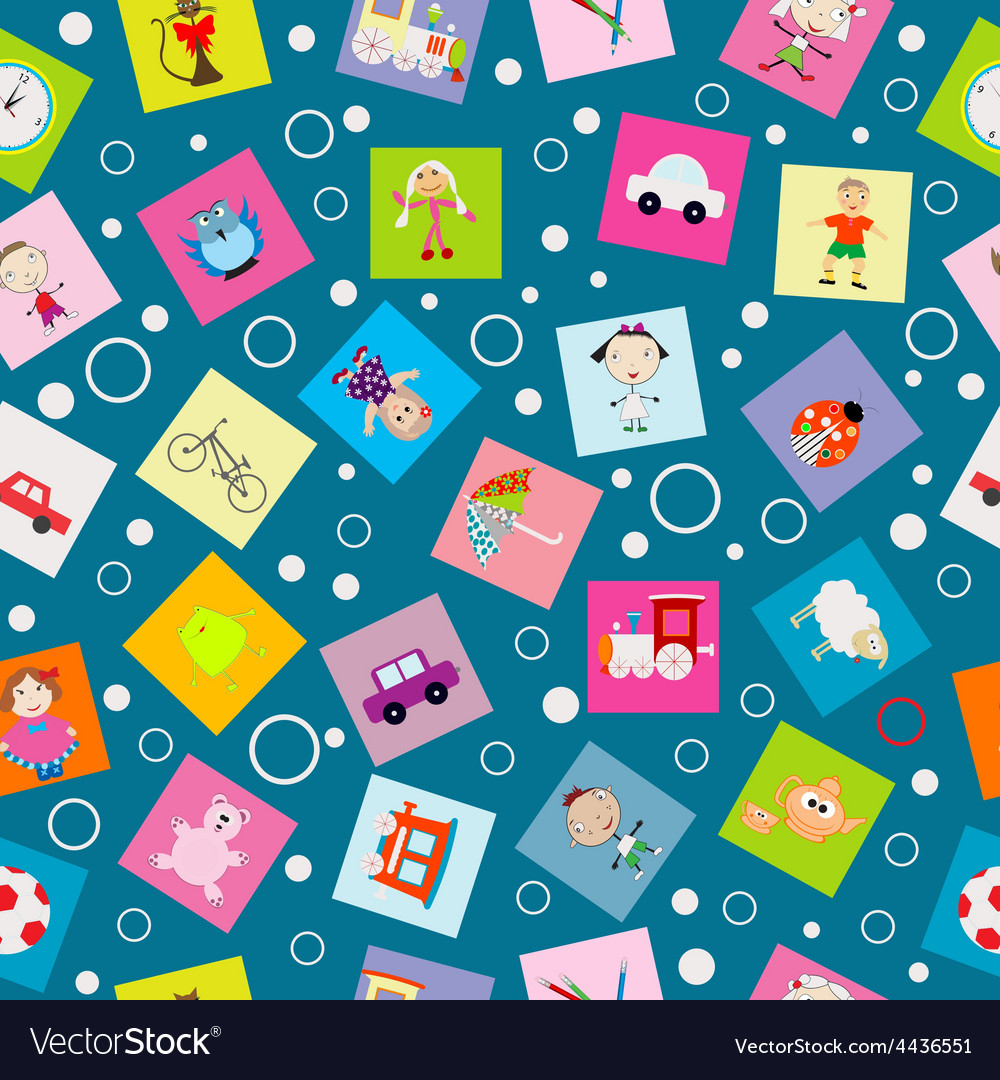 Wrapping paper for kids with cartoon toys vector   Price: 1 Credit (USD $1)