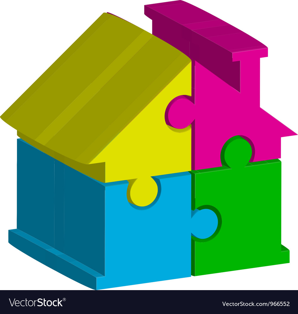 3d house from puzzles vector | Price: 1 Credit (USD $1)
