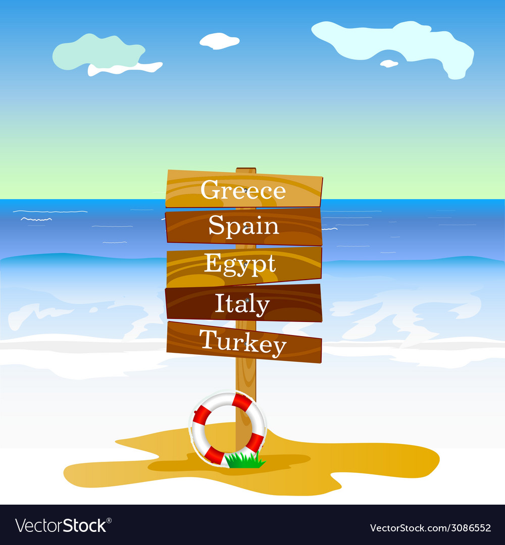 Beach with signboard cartoon vector | Price: 1 Credit (USD $1)