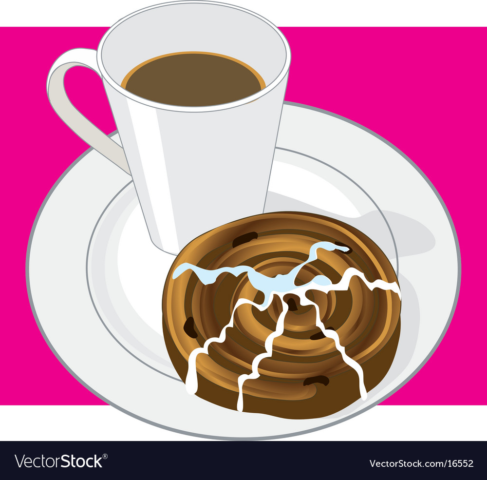 Coffee and cinnamon bun vector | Price: 1 Credit (USD $1)