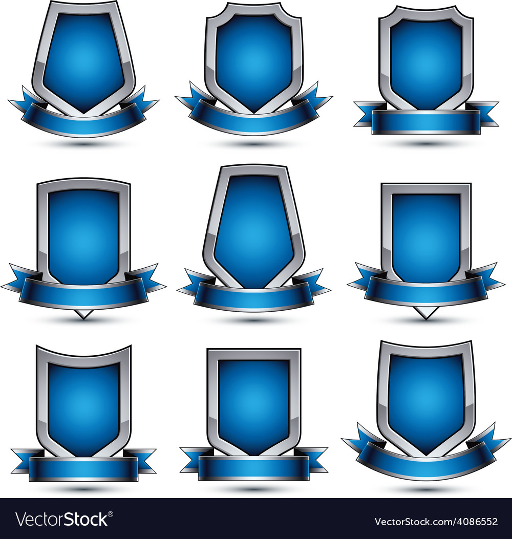 Collection of gray heraldic 3d glamorous icons vector | Price: 1 Credit (USD $1)