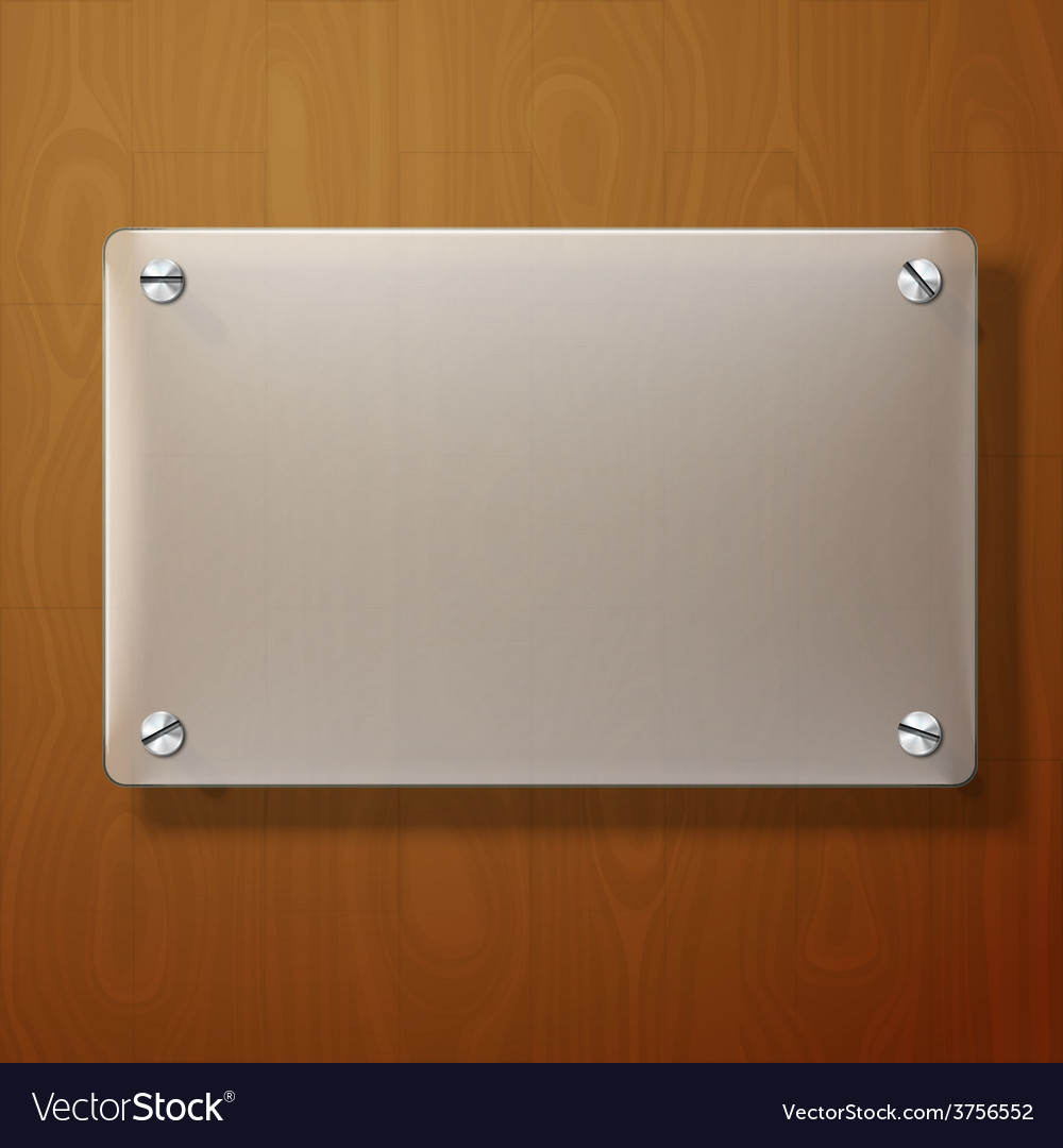 Frosted glass plate on wooden background vector   Price: 1 Credit (USD $1)