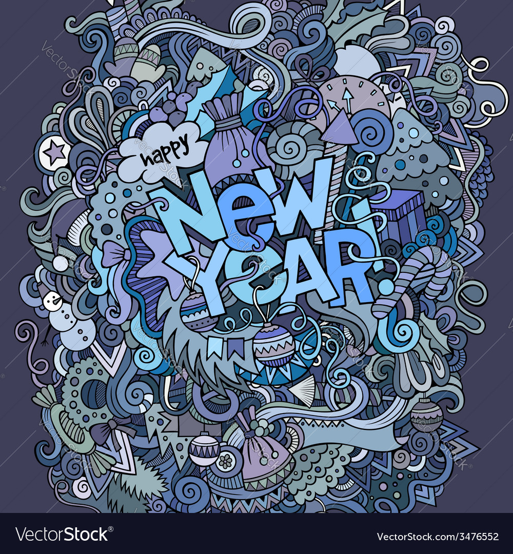 New year hand lettering and doodles elements vector | Price: 1 Credit (USD $1)