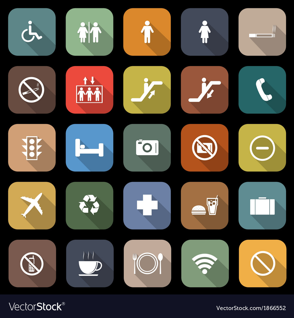 Public flat icons with long shadow vector | Price: 1 Credit (USD $1)