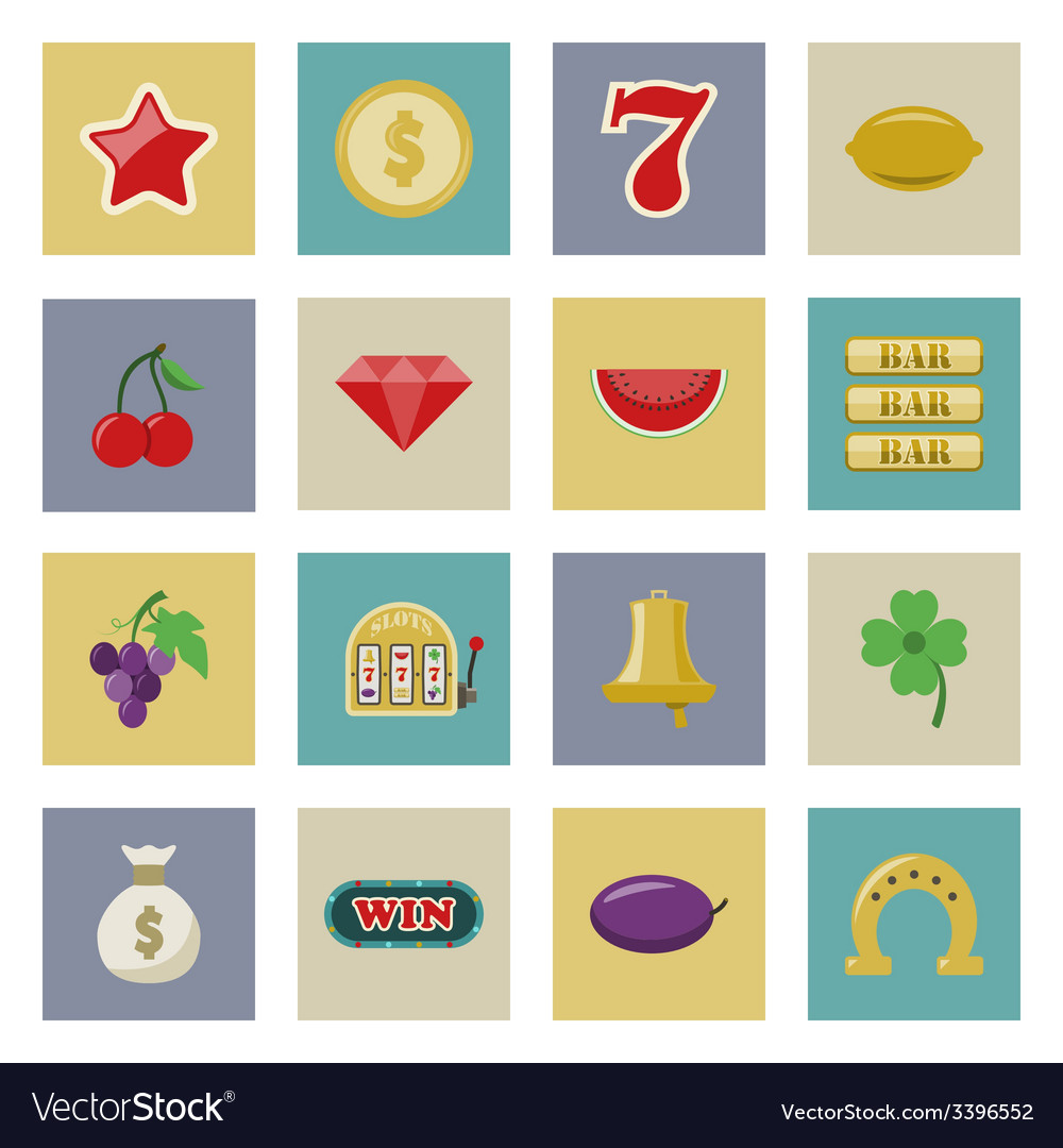 Slot machine and gambling flat icon set vector | Price: 1 Credit (USD $1)