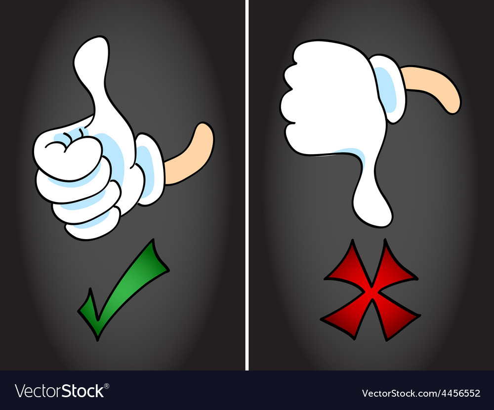 Thumb up and thumb down symbol vector | Price: 1 Credit (USD $1)