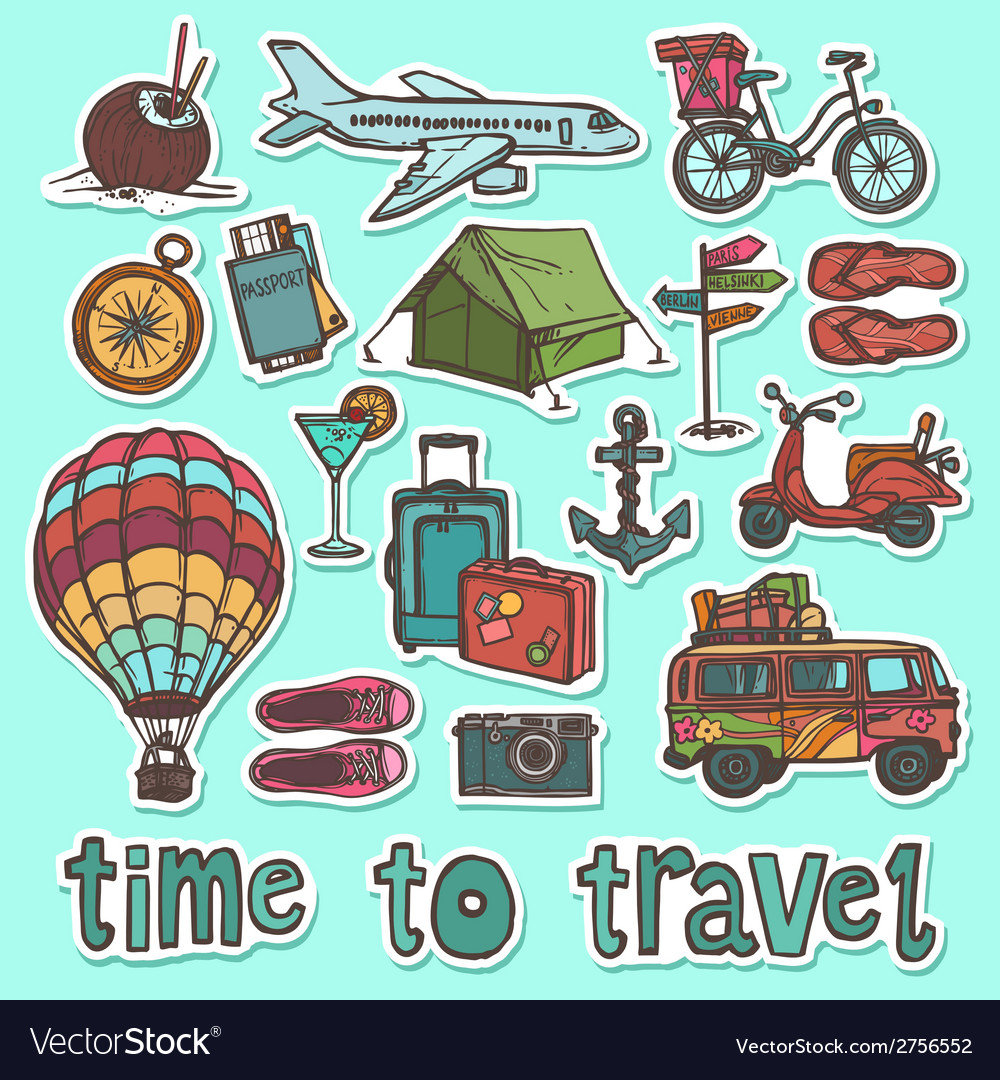 Travel sketch stickers set vector | Price: 1 Credit (USD $1)