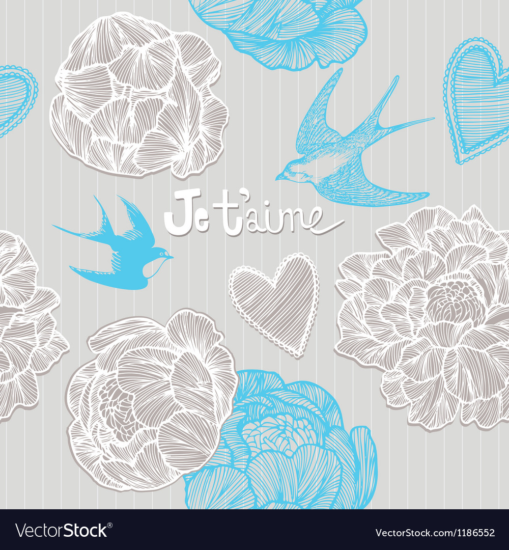 Valentines card swallows and flowers seamless patt vector | Price: 1 Credit (USD $1)