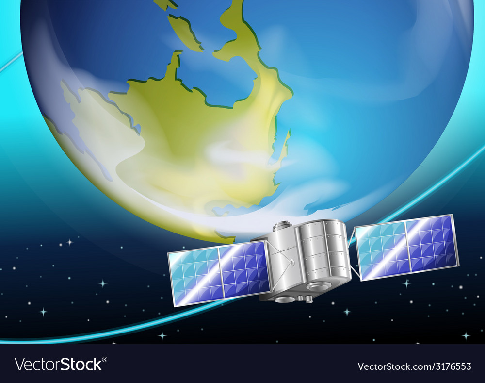 A satellite near the planet vector | Price: 1 Credit (USD $1)