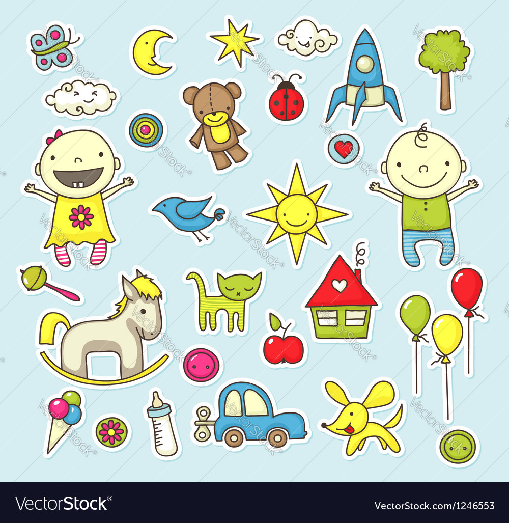 Baby stickers vector
