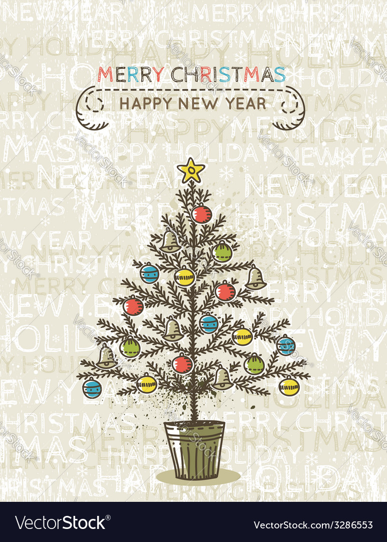 Beige background with christmas tree vector | Price: 1 Credit (USD $1)