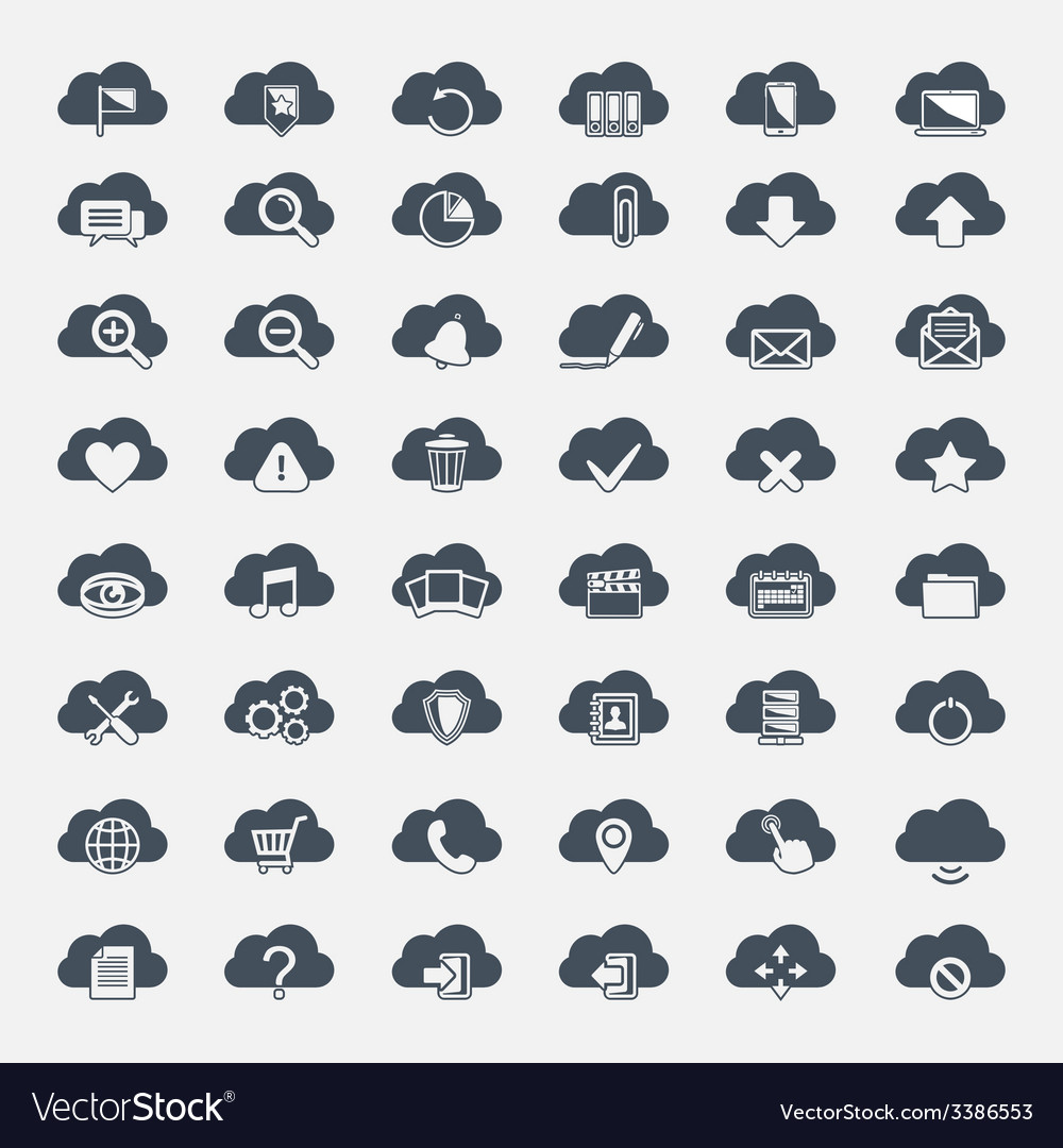 Big set of forty-six black cloud shapes with icons vector | Price: 1 Credit (USD $1)
