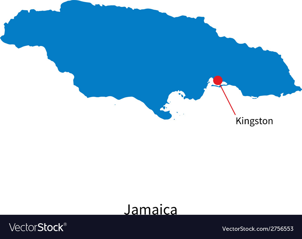 Detailed map of jamaica and capital city kingston vector | Price: 1 Credit (USD $1)