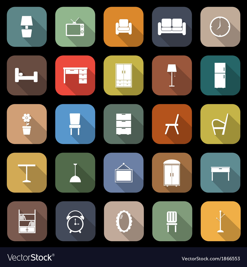 Furniture flat icons with long shadow vector | Price: 1 Credit (USD $1)